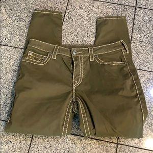 True Religion army green curvy skinny jeans, 31